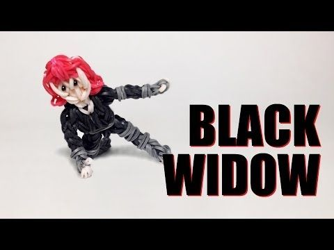 Rainbow Loom Avengers Series: BLACK WIDOW. Designed and loomed by PG's Loomacy. Click photo for YouTube tutorial. 05/02/14.