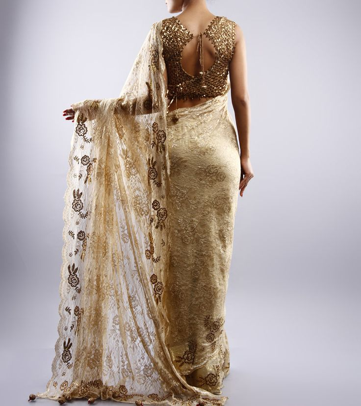 NEHA MEHTA COUTURE - Golden Chantilly Saree With Zardozi - BACK Click on the photo to #Shop this gorgeous #saree!