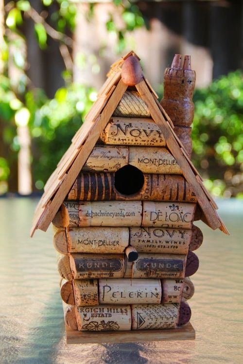For all the enthusiastic wine drinkers out there: A Wine cork birdhouse   #Birdhouse, #Cork, #Recycled, #Repurposed #rethink #recylce #reuse #upcycle #diy #wine #craft #garden #birds #home #fun #eco #green #enthusiast