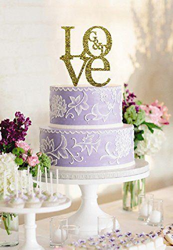 personalisierbar Love mit Monogramm Custom Initiale Name Hochzeit Tortenaufsatz Acryl Gold Tortenaufsatz Andenken