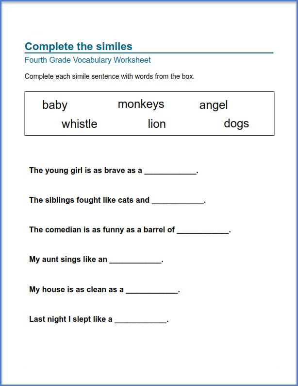4th Grade Worksheets Best Coloring Pages For Kids Vocabulary Worksheets Printable English Worksheets Free Worksheets For Kids Free grammar worksheet 4th grade