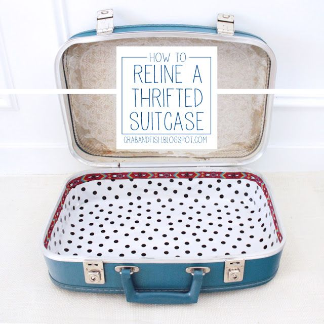 Thanks for this tutorial !!  I am about to embark on the project...wish me luck!  I was soo pumped when I spotted an old Samsonite at the thrift store yesterday!!!   How to Reline a Thrifted Suitcase | crab+fish