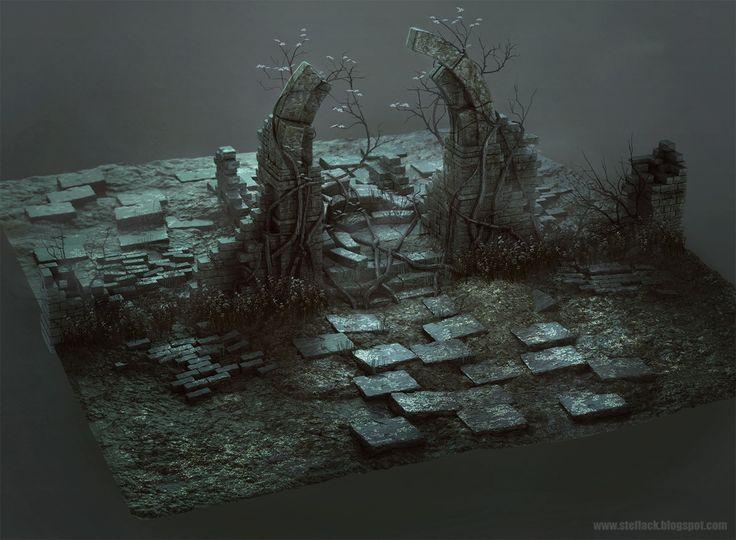 Ruins, Ste Flack on ArtStation at https://www.artstation.com/artwork/VN21n
