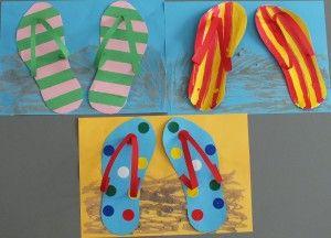 Slippers knutselen met vlechtstroken, verf of plakcirkels.