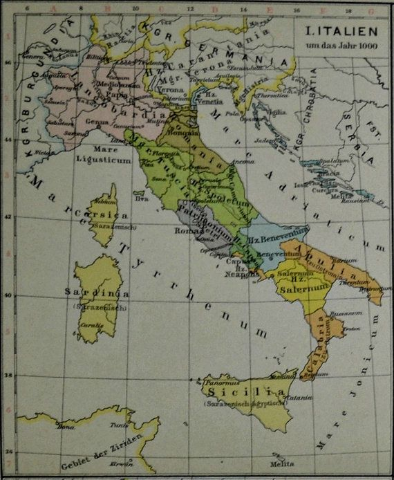 Antique Italy geography. Old book plate 1890. by AntiqueBookPlate