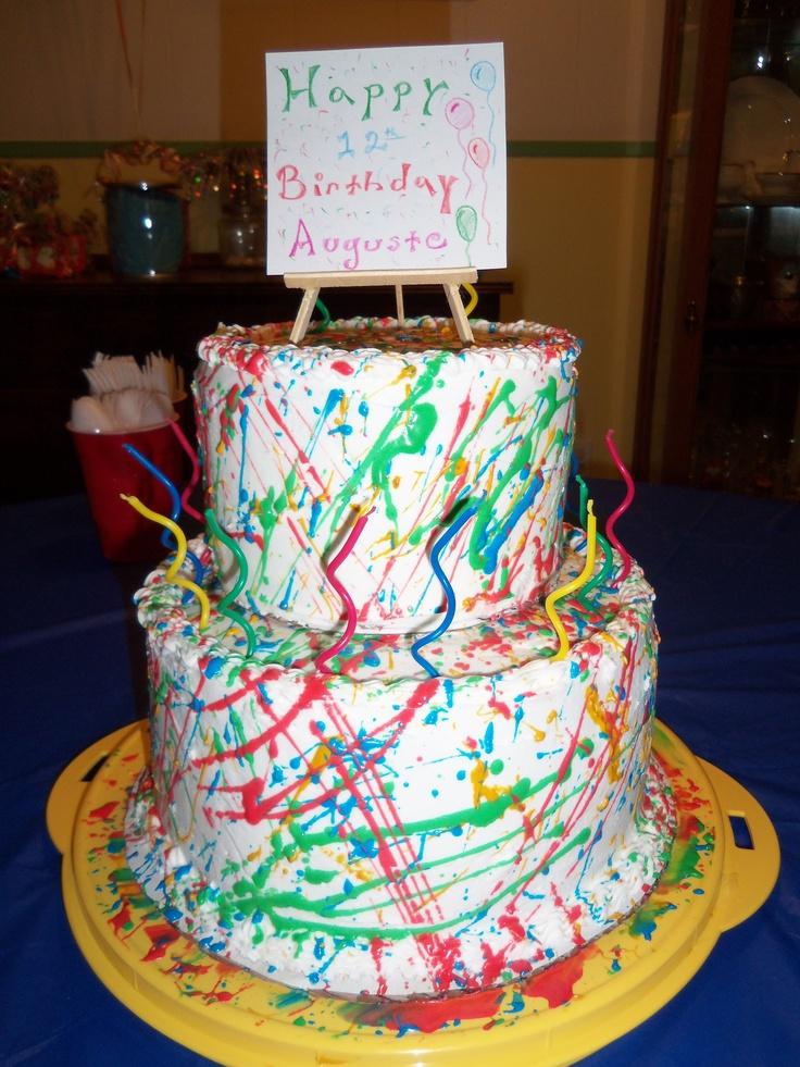 My daughter's splatter paint b-day cake. | Desserts, cakes
