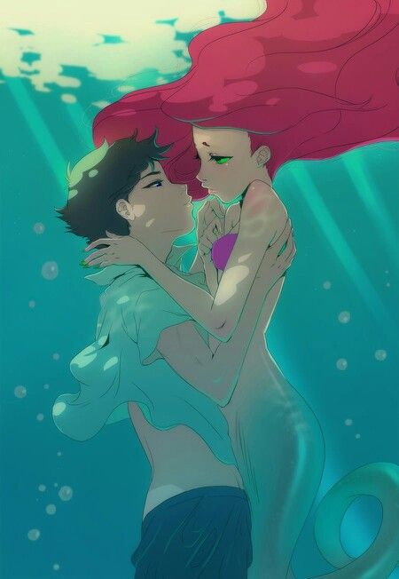 Robin and Starfire as THE LITTLE MERMAID