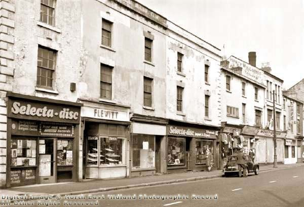 Selecta-disc and Flewitts Bakers shop, Arkwright Street ~ April 1973