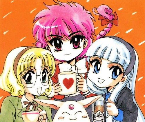 Fuu, Hikaru, Umi, and Mokona from Magic Knight Rayearth.