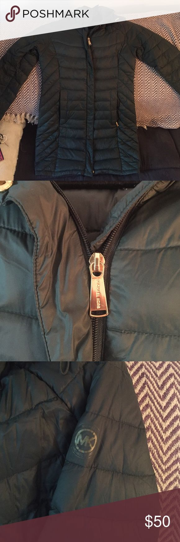 Michael Kors down coat Dark green Michael Kors coat. Falls right before the knee. Light down. Gently worn. In good condition. Size small. Michael Kors Jackets & Coats Puffers