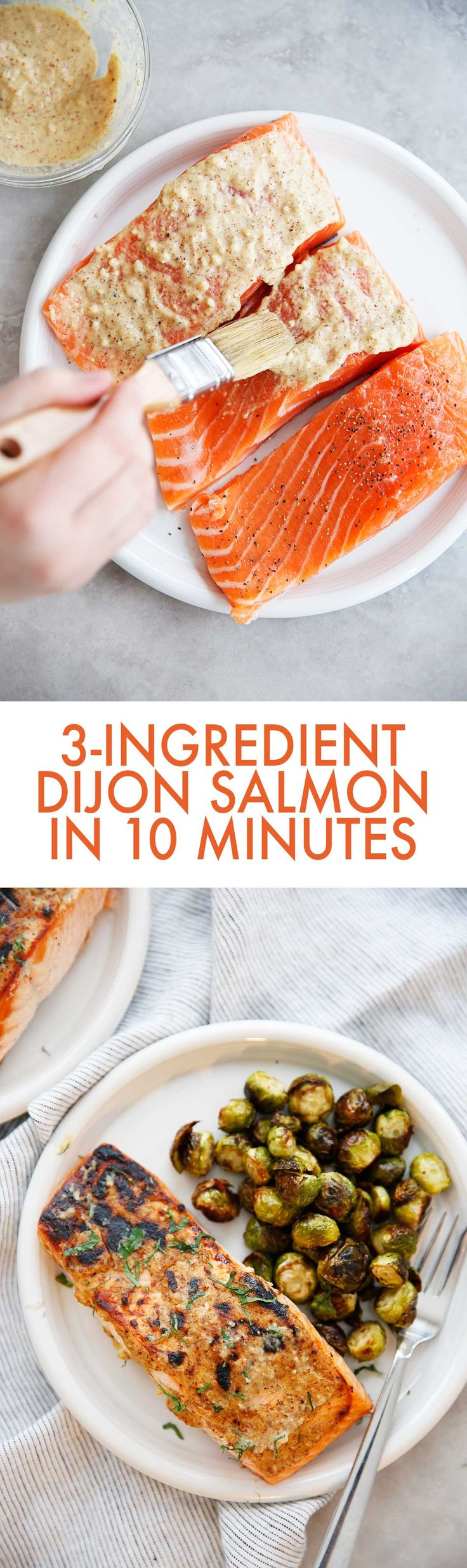 This 3-Ingredient Dijon Salmon recipe is an easy to make salmon recipe that is so delicious and and comes together in 10 minutes! It's the perfect weeknight salmon recipe that would be great for date night, too! It's Whole30, gluten-free, dairy-free, and a delicious seafood recipe!
