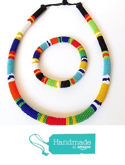 African Zulu beaded necklace and round bracelet set - Multicolour ONE from Gone Rural - Safari Curios https://www.amazon.com/dp/B0164FUPUY/ref=hnd_sw_r_pi_dp_wOrwzbKS10JZX #handmadeatamazon