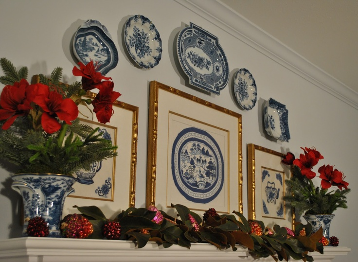 Christmas mantel: Beautiful Blue, Needlepoint Design, Holidays Decor, Mantels Magic, Christmas Decor, White Porcelain, Decor Plates, Christmas Mantels, Blue And White
