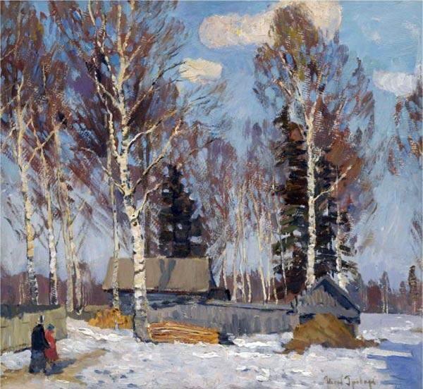 Paysage d hiver (2), huile sur toile de Igor Emmanuilovich Grabar (1871-1960, Hungary)