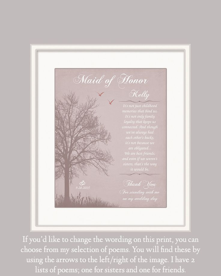 Maid of Honour Gift Personalized Wedding Gift by GoldHousePrints