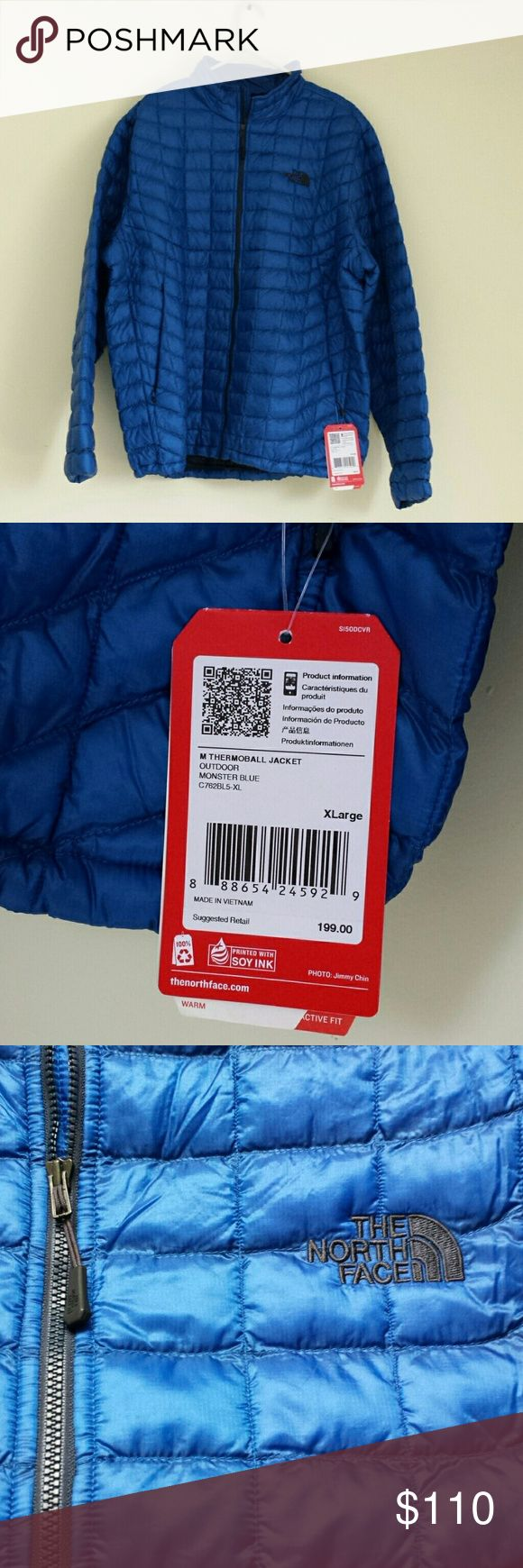 NWT North Face Thermoball puffer jacket -Ultralight, packable insulated jacket retains warmth even when wet  -Thermoball powered by PrimaLoft synthetic insulation -Compressibility of down with the wet-weather insulating performance of synthetics  -Zippered hand pockets -Internal elastic cuffs  -Hem cinch-cord system in hand pockets  -Stows in hand pocket -Monster blue color North Face Jackets & Coats
