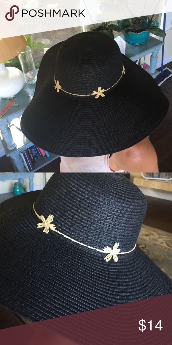BRAND NEW! Black floppy hat Cute black straw floppy hat with raffia embellishment Accessories Hats