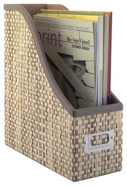 Kathy Ireland by Bush Volcano Dusk Magazine File in Grass Weave-Natural - Transitional - Desk Accessories - Cymax $27.49
