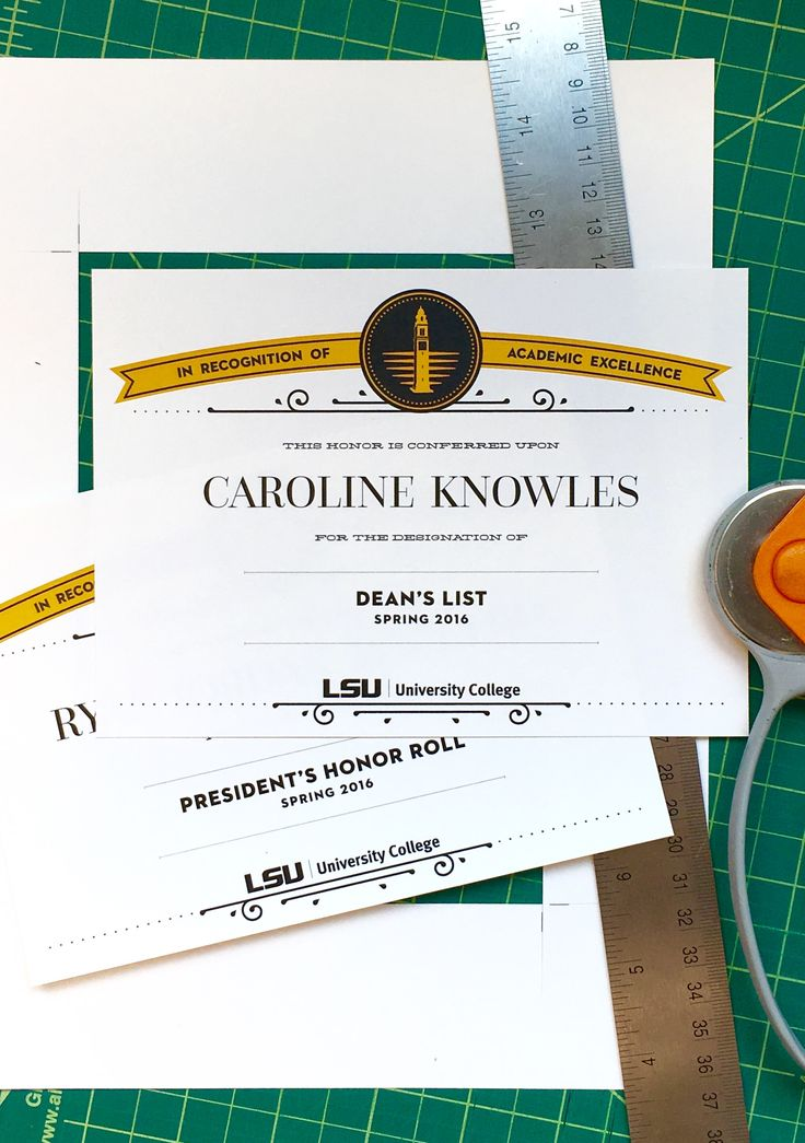 LSU University College Dean's List and Honor Roll certificates, designed by Jamie Kutner, 2016.