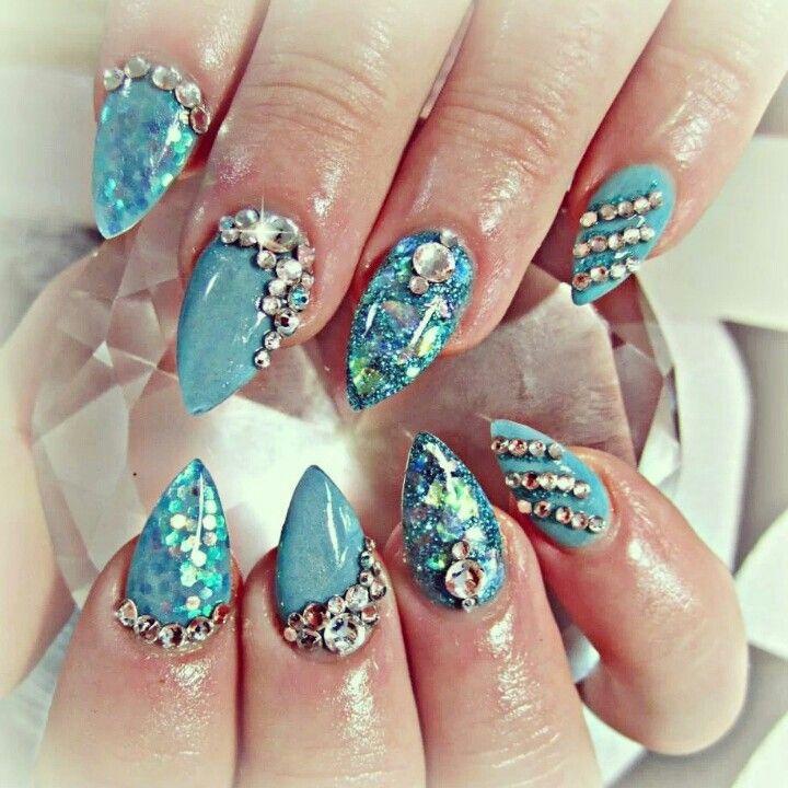 Shiny Blue Acrylic Nails And Swarovski Crystals
