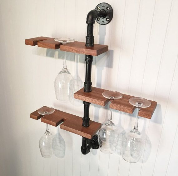 Modern Industrial Wine Glass Holder