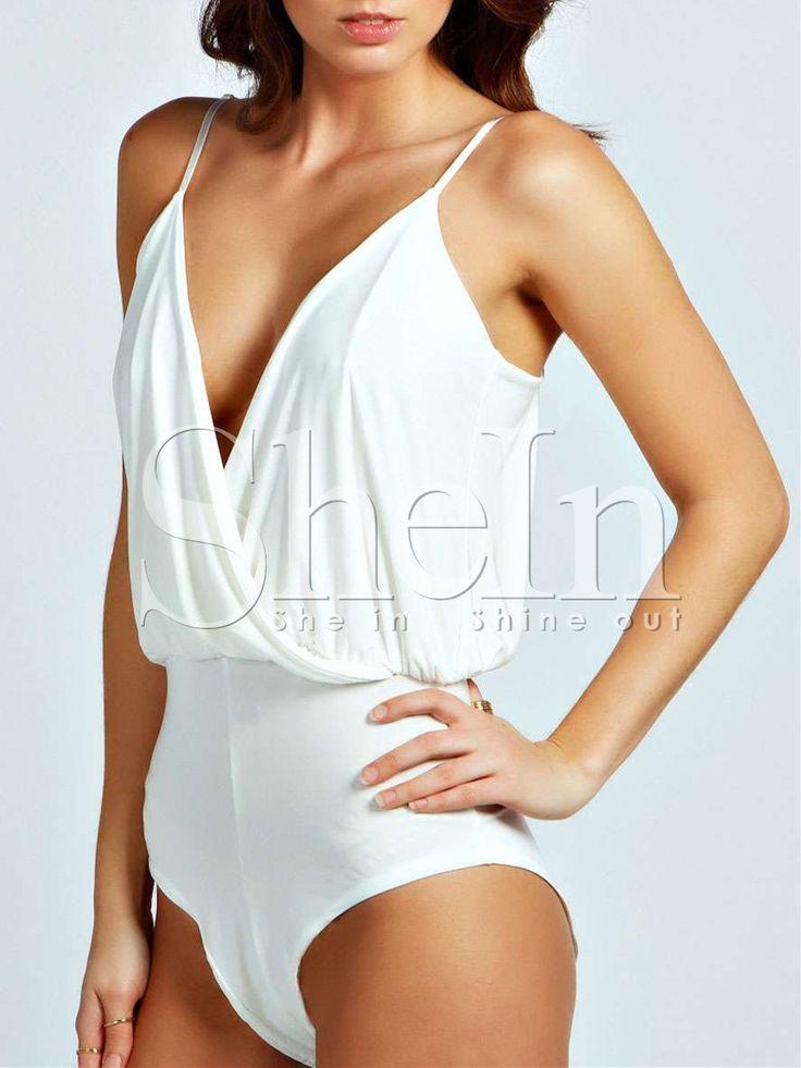 White Spaghetti Strap Deep V Neck Backless Bodysuit -SheIn(Sheinside)