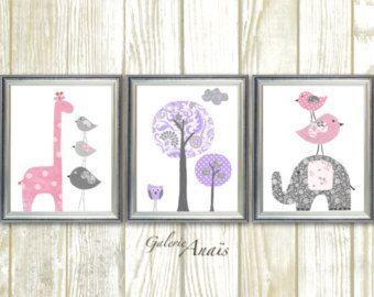 Chica de vivero Decor arte de pared de color rosa púrpura gris vivero bebe cuarto decoración elefante de niños jirafa vivero árbol conjunto de tres impresiones