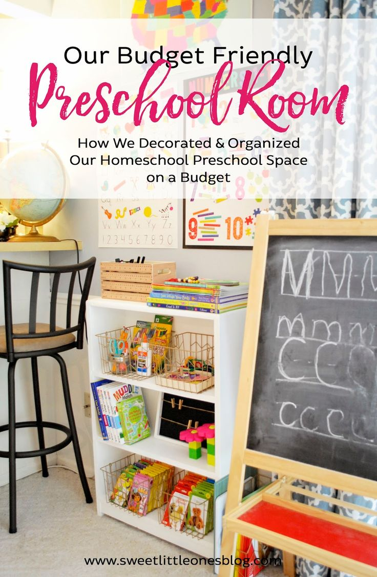 Our Budget Friendly Preschool Room: How We Decorated and Organized Our Homeschool Preschool Space on a Budget {Easy Design Tips for Creating a Fun and Inexpensive Preschool Room at Home} www.sweetlittleonesblog.com