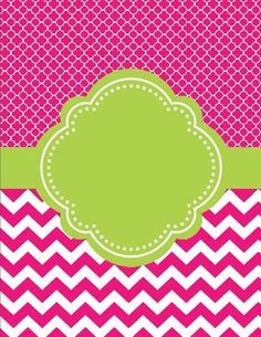 """Moroccan and Chevron Binder Cover ~ Two Versions both Lime Green and PinkI love cute binder covers.  You can add a label to it or write on it.  If you decide to download this free product, please take a moment to leave feedback.  It's much appreciated.  """"Follow Me"""" for updates and new products."""