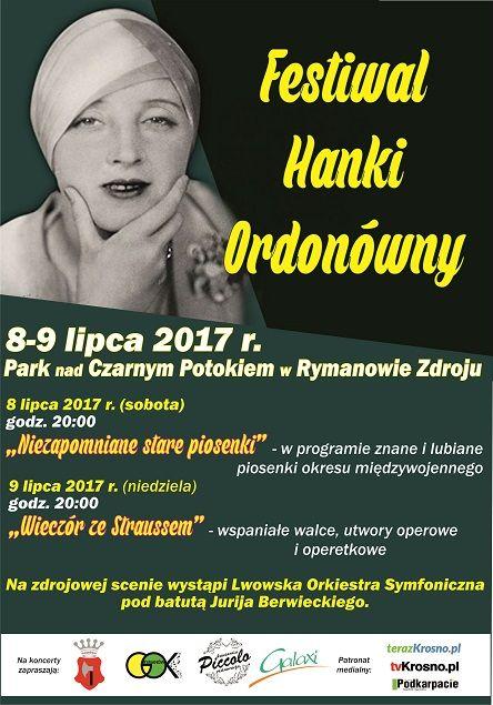 w dniach 8-9 lipca 2017 r. w Parku nad Czarnym Potokiem w Rymanowie-Zdroju odbędzie się kolejna edycja Festiwalu Hanki Ordonówny. Szczegóły na plakacie.