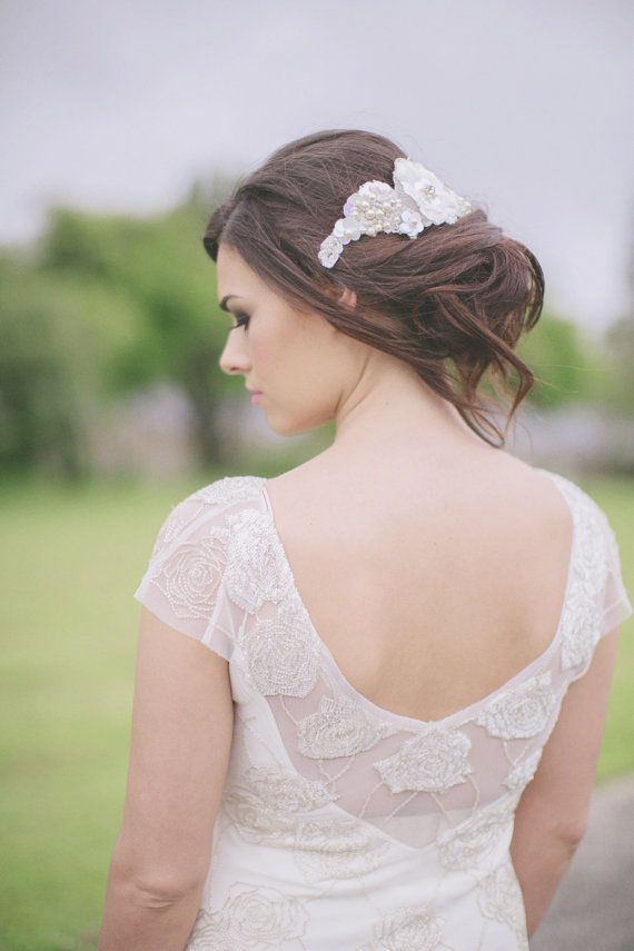 Sheba lace flower pearled head dress by Couturebridalmegan on Etsy, £160.00