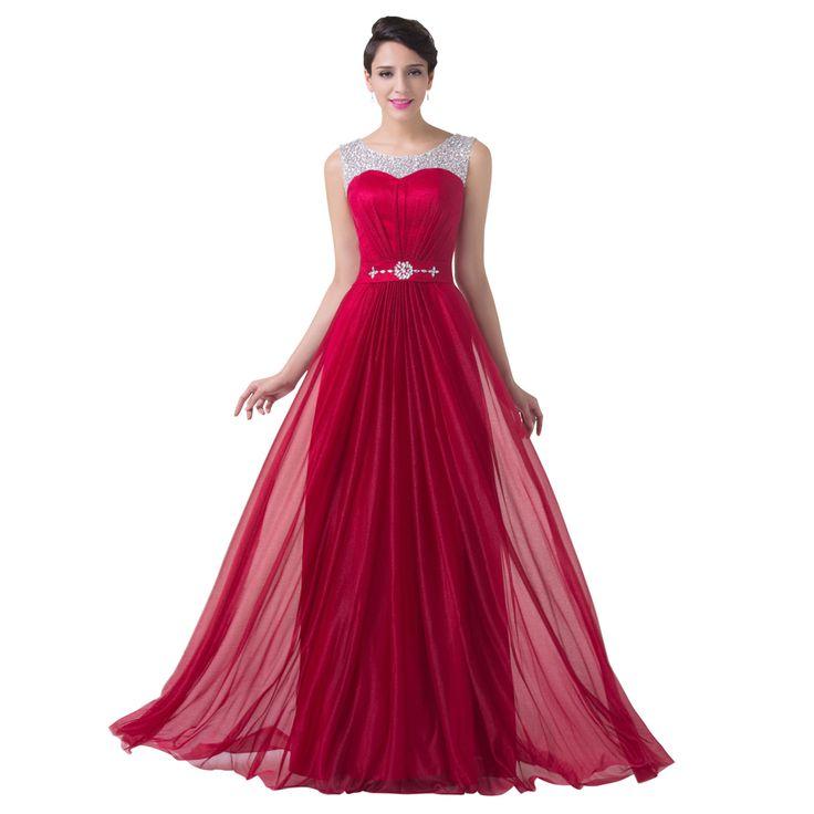 Bourgogne Rouge Demoiselle D'honneur Robe Mousseline de Soie Perlée Une Ligne Formelle Robe De Soirée De Mariage Robe Étage Longueur Longues robes de mariée 2017