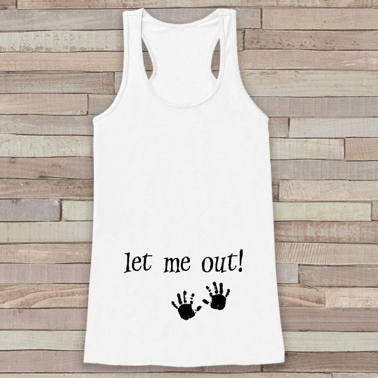 This fun tank top is the perfect way to announce your pregnancy! - Please include the date you would like in the Notes to Seller box during the checkout process. Tank is a soft poly blend with a flatt