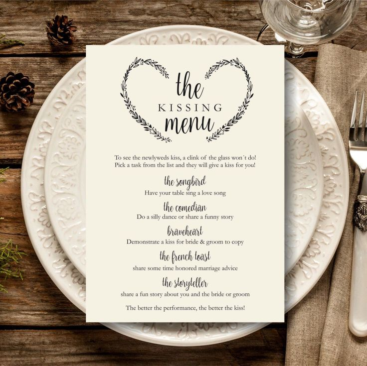 have some fun on your wedding day with a kissing menu by this way you