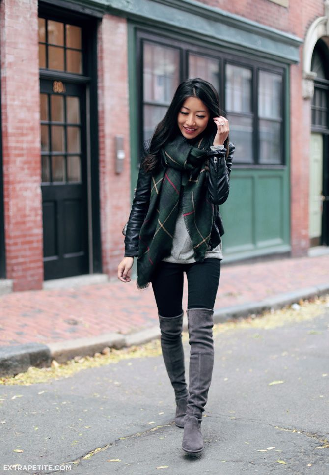 Fall casual // over the knee tall boots + plaid blanket scarf + moto jacket // item details + more outfit ideas here: bit.ly/216s4RK