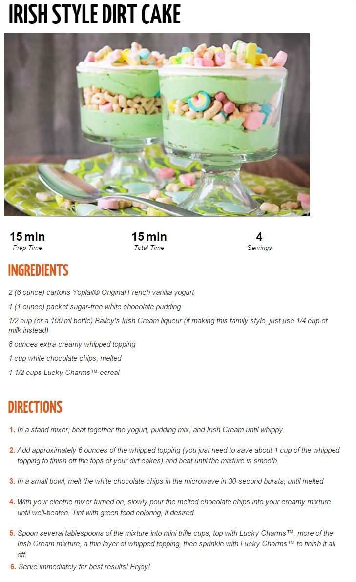 Irish style dirt cake | Sweets & Treats | Pinterest | Dirt Cake, Irish ...
