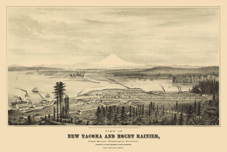 Vintage Map - Tacoma, Washington 1878.