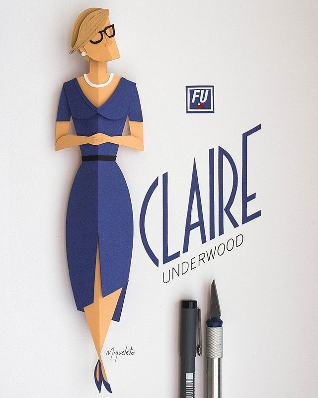 Just finished season 4 and decided to do a form-composition study with Claire Underwood. #paperart #crafts #houseofcards #fanart #frankunderwood #claireunderwood #robinwright #illustration #art #netflix #handmade #tactile #ilustracao #paper #minimal #miqueleto