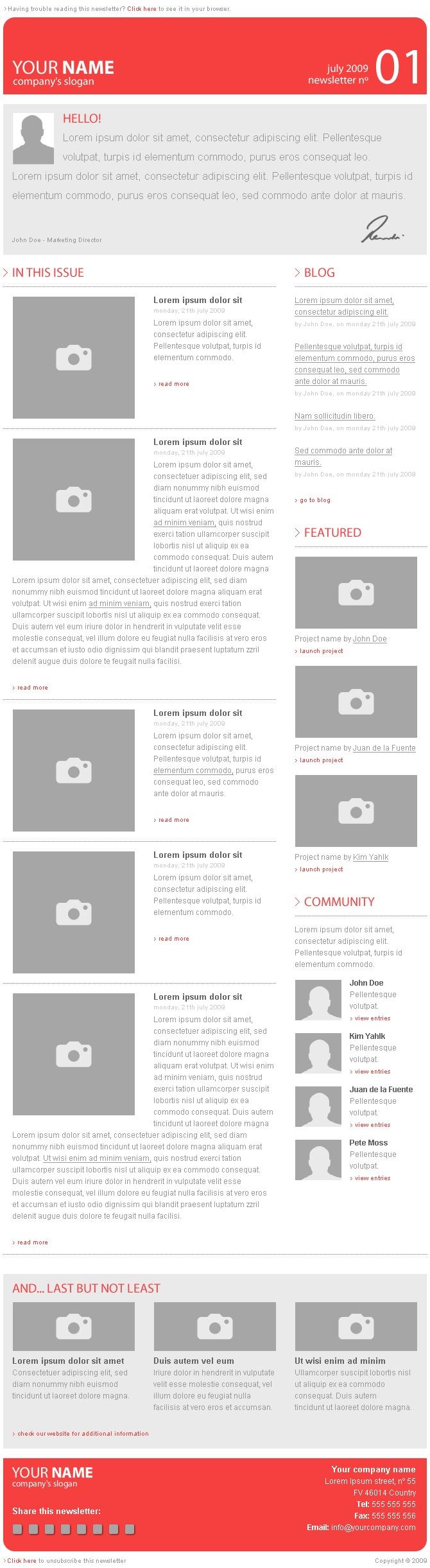 e newsletter template