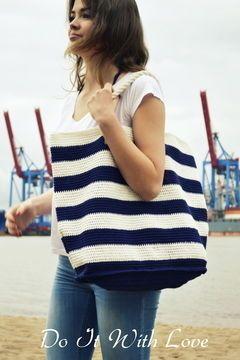 Nautic Look! Mit dieser Tasche siehst du nicht nur am Meer gut aus. Die Anleitung gibt's auf Makerist.de