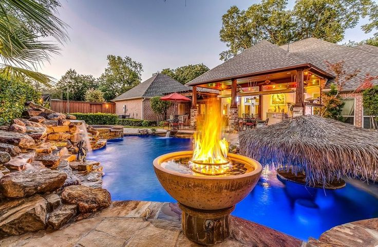 tropical pool landscaping pool tropical with medium wood pillars
