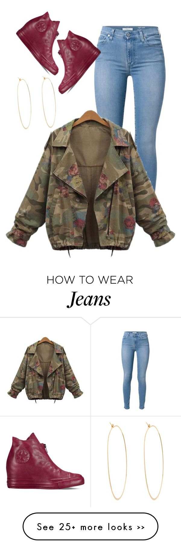 """""""School Outfit Inspired"""" by perichaze on Polyvore featuring 7 For All Mankind, Converse and Melissa Joy Manning"""
