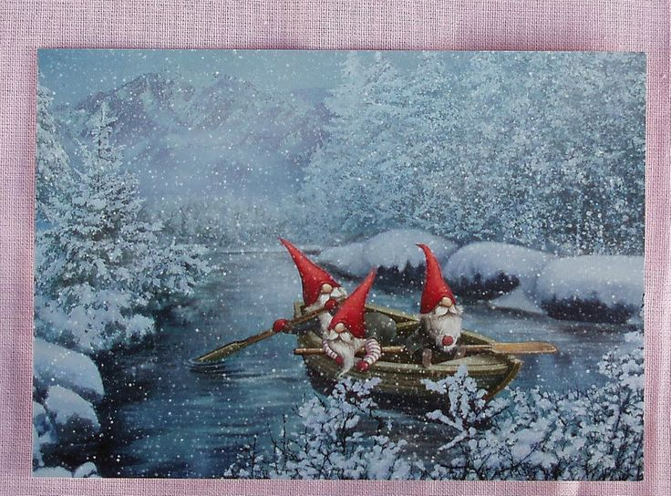 3 GNOMES IN A BOAT Sweden Tomte Nisse