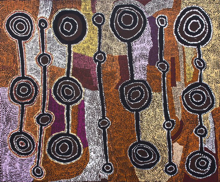 Taylor Cooper - Malara: Wanampi Tjukurpa - 122 x 102 cm - 18-27 http://www.aboriginalsignature.com/art-aborigene-kaltjiti/taylor-cooper-malara-wanampi-tjukurpa-122-x-102-cm-18-27