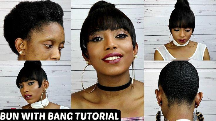 How To Faux Bun With Bang Tutorial On Short Natural Hair NO GLUE NO SEW