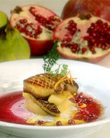 Seared Foie Gras with Poached Quince, Tangerine, and Pomegranate Juice - Martha Stewart Recipes