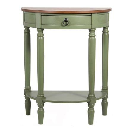 honey pine wood half moon console table sage green