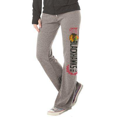 Women's Chicago Blackhawks Heather Gray Yoga Tri-Blend Pants
