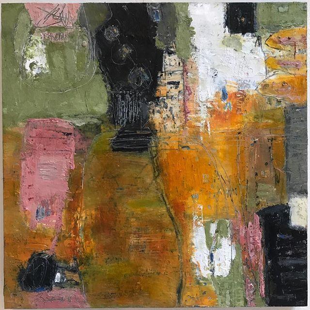 "Lynn Alker 12x12 oil on board ""joyride""  #abstractart #mixedmediaartist #markmaking #originalart #raleighnc #instagood #modernart #interiordesign #instagramartist #colorfulart"