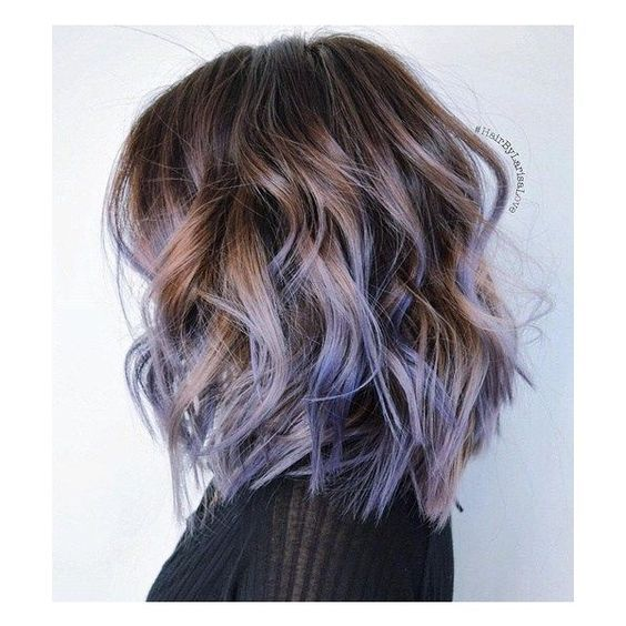 honey caramel ombre purple | pastel | hairstyles | medium | curly | lavender | lilac | highlights